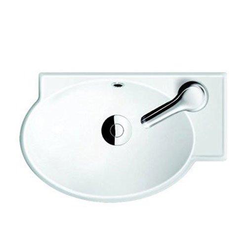 CeraStyle 001300-U-One Hole Mini Curved Corner Ceramic Wall Mounted/Vessel Sink, White
