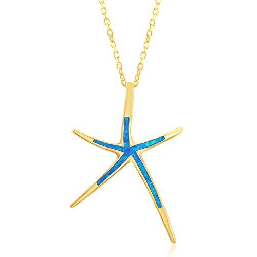 - Beaux Bijoux Sterling Silver Gold Tone Created Blue Opal Starfish 18