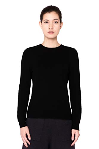 Goyo Cashmere Women's 100% Pure Cashmere Sweater - Long Sleeve Crewneck Pullover (Black, - 100% Sweater Cashmere Crew