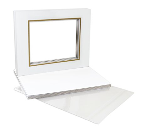 4 Ply Gold Paper (Golden State Art, NS502-NS143-10kit, Pack of 10, Double Picture Mats 11x14 with White Core Bevel Cut for 8x10 Pictures + Backing + Bags, Off-White Over Gold)