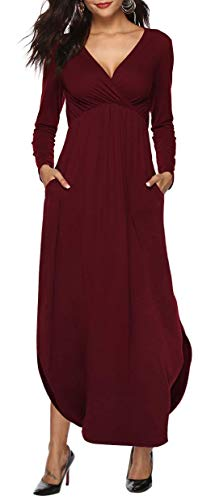 Womens Dresses V Neck Long Sleeve Side Slit Casual Party Long Maxi Dress with Pockets Burgundy M