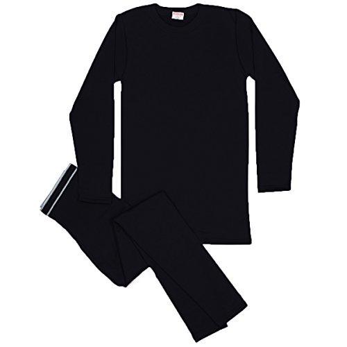 Rocky Men's Thermal Fleece Lined Long John Underwear 2pc Set (Medium, Black)