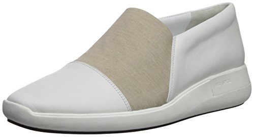 Via Spiga Womens Morgan Slip on Sneaker Porcelain Leather/Oatmeal Jersey