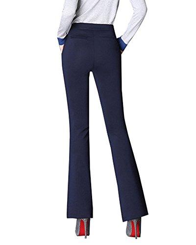 Vita Tasche Alta Campana Sottile Pantalone Navy A Con Donna wnq7fUIRS