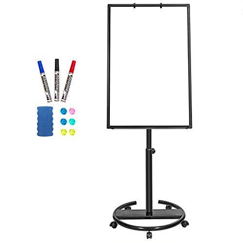 Mobile Whiteboard - Caballete magnetico portatil de 90 x 60 cm con caballete de borrado en seco con ganchos para rotafolios, color negro 90x60
