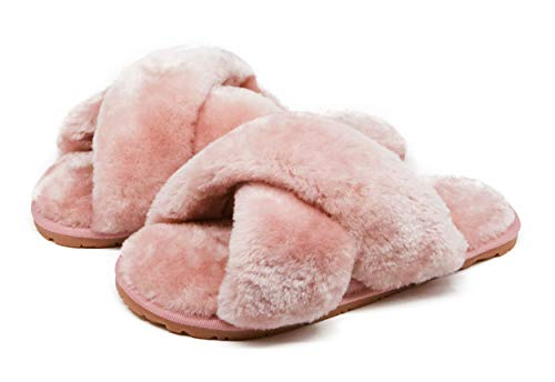 Women's Fuzzy Crossband Fluffy Furry Fur Slippers Flip Flop Winter Warm Cozy House Memory Foam Sandals Slides Soft Flat Comfy
