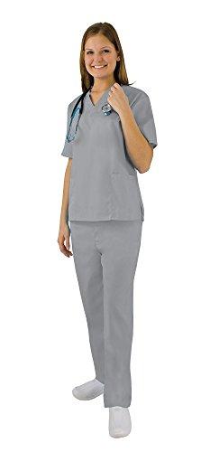 Women's Scrub Set - Medical Scrub Top and Pant, Grey, - Set Fact
