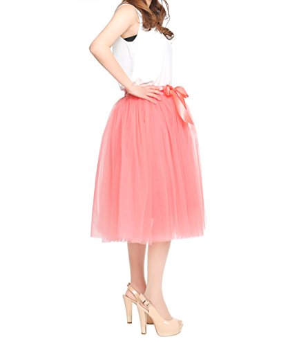 Women's High Waist Princess A Line Midi/ Knee Length Tulle Skirt Pleated for Prom Party,Coral