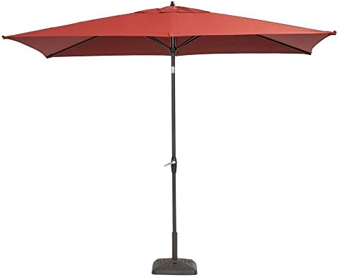 Hampton Bay 10 ft. x 6 ft. Aluminum Patio Umbrella with Push-Button Tilt Chili
