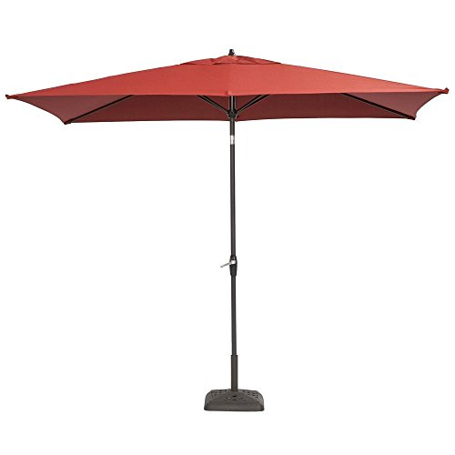 Hampton Bay 10 ft. x 6 ft. Aluminum Patio Umbrella with Push-Button Tilt Chili
