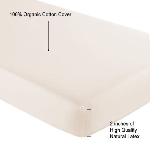Mattress Topper 2' Foam (Latex Mattress Topper for Toddler and Crib Bed (With Organic Cotton covering))