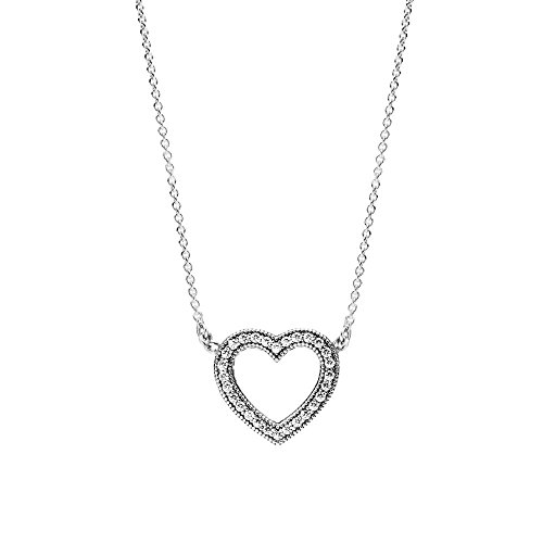 Loving Hearts of PANDORA Pendant Necklace, Clear CZ 590534CZ-45 Adjustable Lengths