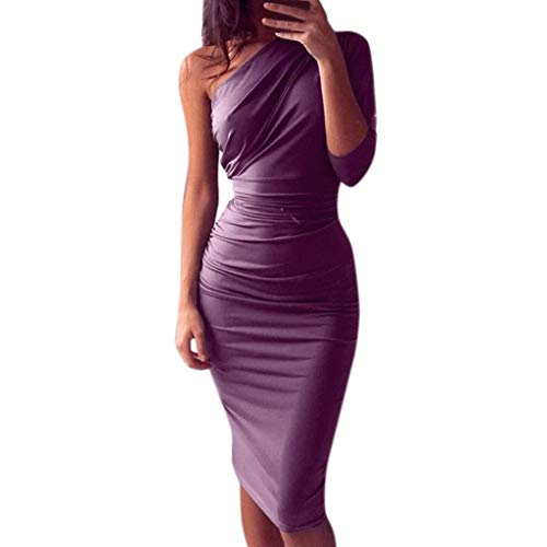 ♥ HebeTop ♥ Womens Fashion Sexy Solid Color Sloping Shoulder Ruched Dress Ladies Bodycon Cocktail Party Knee-Length Dresses Purple