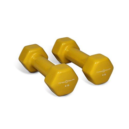 Fitness Republic Vinyl Hex Dumbbells 4 lbs Set (Vinyl Weights) -