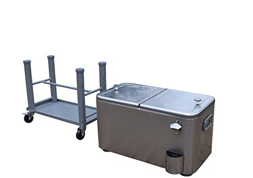 Oakland Living AZ91008-60-SS Stainless Steel 15 Gallon Cart Outdoor Cooler with Wheels, Medium (Wheels Stainless On Cooler Steel)