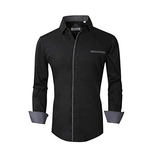 (Markalar Mens Casual Button Down Shirts Regular Fit Long Sleeve Cotton Dress Shirt,Solid-Black,XXL)