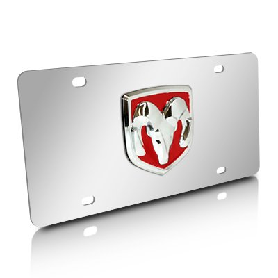 (Au-Tomotive Gold, INC. Dodge RAM Red Logo Chrome Steel License Plate)