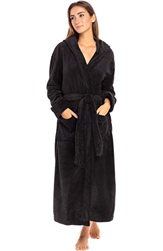 Alexander Del Rossa Women's Plush Fleece Robe with Hood, Warm Bathrobe Small Medium Black (A0116BLKMD) (The Best Dog Brush)