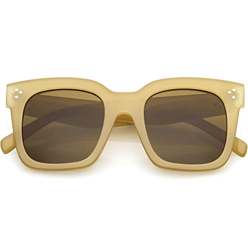 Creme Tinted - zeroUV - Bold Oversize Tinted Flat Lens Square Frame Horn Rimmed Sunglasses 50mm (Creme/Brown)