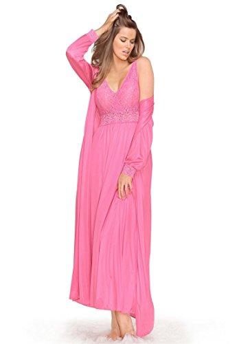 Amoureuse Women's Plus Size Long Tricot Peignoir Set Dark Sapphire,M