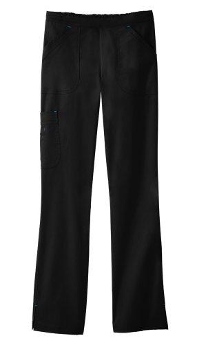 - White Swan B.I.O. Mega Pocket PETITE Cargo Scrub Pant, Black/Turquoise Size L Petite