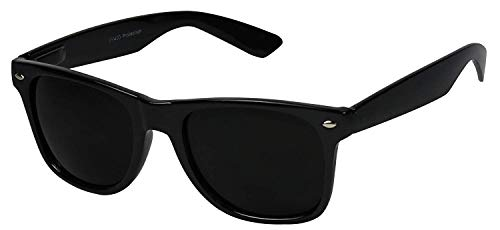 Legend Eyewear - Retro Super Dark Lens Non-Polarized Lens Square Horn Rimmed Sunglasses GlossBlack ()