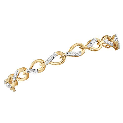 10kt Yellow Gold Womens Round Diamond Linked Teardrop Fashion Bracelet 1/6 Cttw