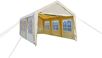 Gaier 10X20 Party Tent Outdoor carport Gazebo Heavy Duty Portable car Garage Canopy with Removable sidewalls,Cover for shelter with 8 Steel Legs
