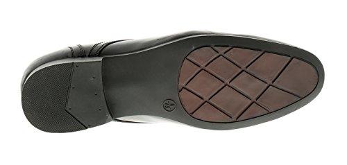 Herren Spitze Verschluss Leder oben Formelle Schuhe mit Punch Detail to th - schwarz - UK Größen 6-12