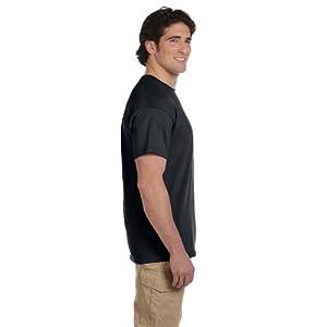 Gildan Men's Seamless Double Needle T-Shirt, Black, Large. (Pack of 5)