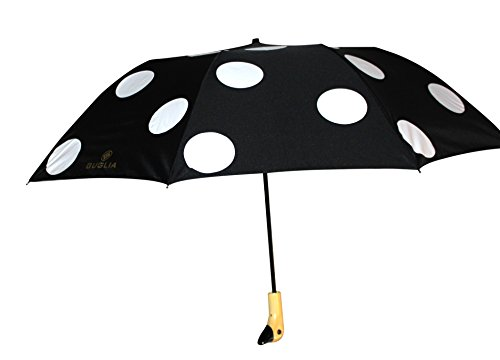 Guglia New York Duck Umbrella, Noir Black With White Polka Dot Duck Umbrella