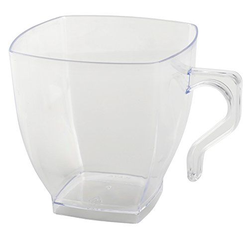Clear Fancy Hard Plastic Coffee Cups - 8oz Square Tea Mugs with Handle - Disposable or Reusable (192 Cups)