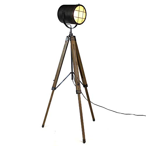Lámpara de pie de madera y metal, diseño industrial, trípode ...