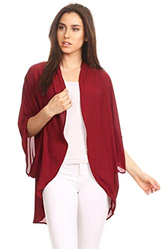 Casual Solid Color Loose Fit Open Front Cardigan/Made in USA Burgundy 3XL