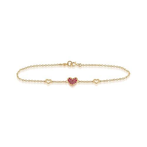 Gemondo Ruby Bracelet en or jaune 9 carats avec rubis 0.17ct coeur Bracelet 19 cm