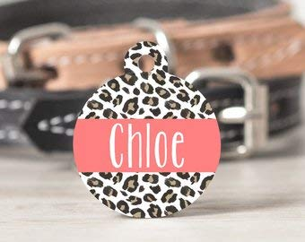 QM - Leopard Print Pet ID Tag, Leopard Print Cat ID Tag, Animal Print Dog Tag, Animal Print Cat Tag, Custom Dog Tag, Personalized Pet ID Tag