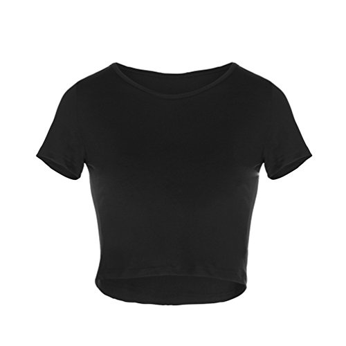 Corte Top Top Shirt Maniche Attillate Unita Crop alla Eleganti Canotte Camicia Estive NiSengs Tinta Donna Camicie Moda Nero Basic T q8wpxpY