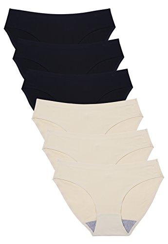 Wealurre Seamless Underwear Invisible Bikini No Show Nylon Spandex Women Panties(B3/A3,M) Black/Apricot ()