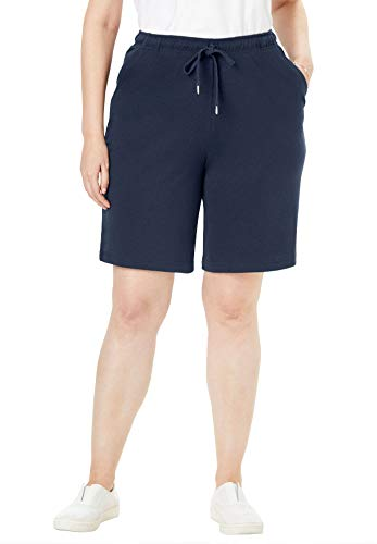 Woman Within Women's Plus Size Sport Knit Short - Navy, 2X