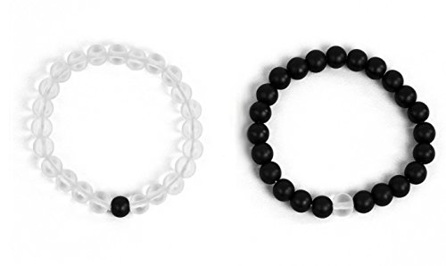 Leune Accessories | Boyfriend and Girlfriend Bracelets Long Distance Relationship Bracelet for Couples Gifts | Made of Natural Stones 8mm Matte Agate & White Howlite (Transparent/Black)