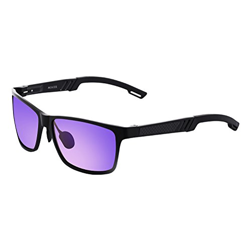 Vintage Rectangular Polarlized Retro Sunglasses 100% UV Protection for Men Women for Driving (black/ - With Wide Men Faces