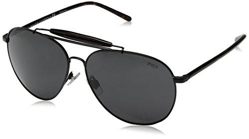Polo Ralph Lauren Men's Metal Man Aviator Sunglasses, Semishiny Black, 60 - Aviator Polo Sunglasses