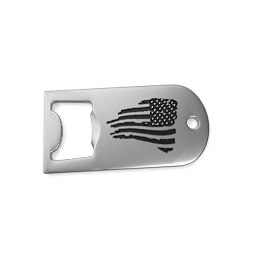 BattleRaddle Silver Military Forward Facing Combat American Flag Dog Tag Necklace Gift Bad Ass American Bottle Opener (Bottle Opener Necklace)