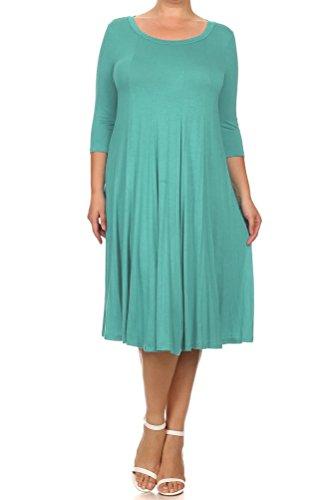 Pastel by Vivienne Women's A-Line Trapeze Midi Dress Plus Size XXX-Large Robin Egg