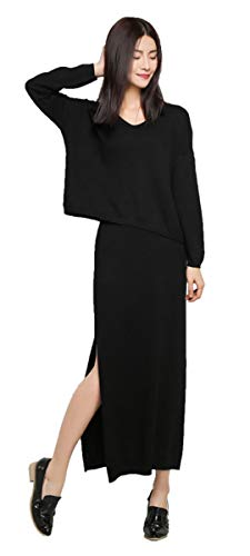 Dress Womens Cashmere (Sweater Dress Set Cashmere Knitted Sweater Suit Deep Vneck Long Sleeve Knit Sweatshirt 2 Pieces Midi Skirt Set (Black, M))