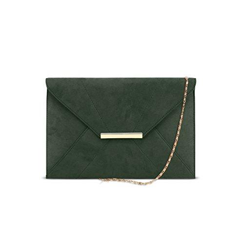Chaîne Enveloppe Aimant Porte D'embrayage Bracelet monnaie Faux Dsuk Suede Olive Femmes XOAqxwFgt