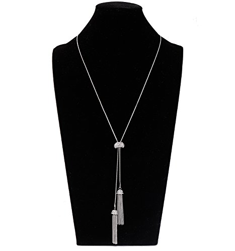 LIAO Jewelry Tassel Pendant Lariat Y Necklace Long Snake Chain Necklaces with Adjustable Crystal Slider Ball (Silver) Ball Pendant