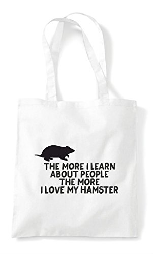 I Pets Learn More Animal Person Shopper Tote Funny About The Hamster My White People Lover Bag Love gxSw5qH