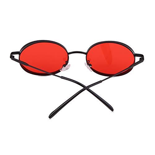 Oval Lunettes Frame Rouge Uv400 Adewu noir Métal De Soleil Unisexes Protection Retro 6npAFw
