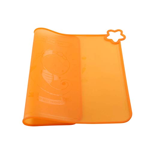 Silicone Baby Placemats for Children Kids Toddlers, Cute Stone Baby Placemats Travel with Raised Edge, Non Slip Surface, Waterproof, Portable, Easy to Clean, Dishwasher Safe, BPA Free, Orange